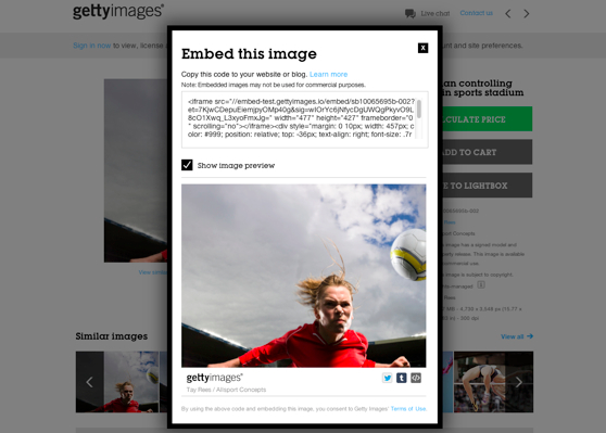 Getty Images embed option available for free